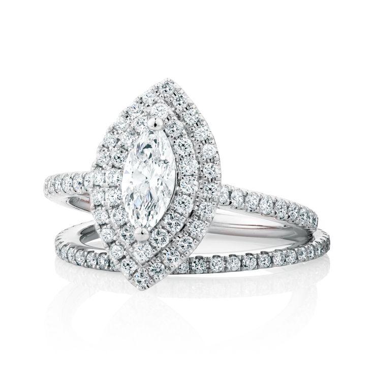 The Michael Hill Designer Bridal Collection Marquise cut center diamond Arpeggio bridal set.