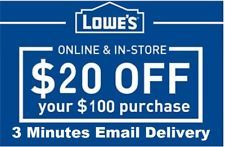 Lowe's $20 off $100 Coupon Discount