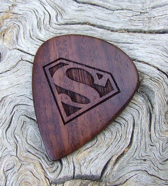 African Leadwood - Handmade Laser Engraved Premium Wood Guitar Pick - Superman Tribute on Wanelo
