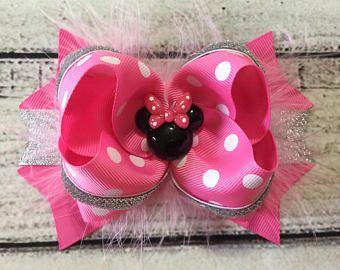 De color rosa Minnie Mouse el arco del pelo, arco del pelo de Disney Minnie Mouse, Minnie Mouse Boutique arco del pelo, pinza de pelo de Minnie Mouse, arco del pelo de las niñas