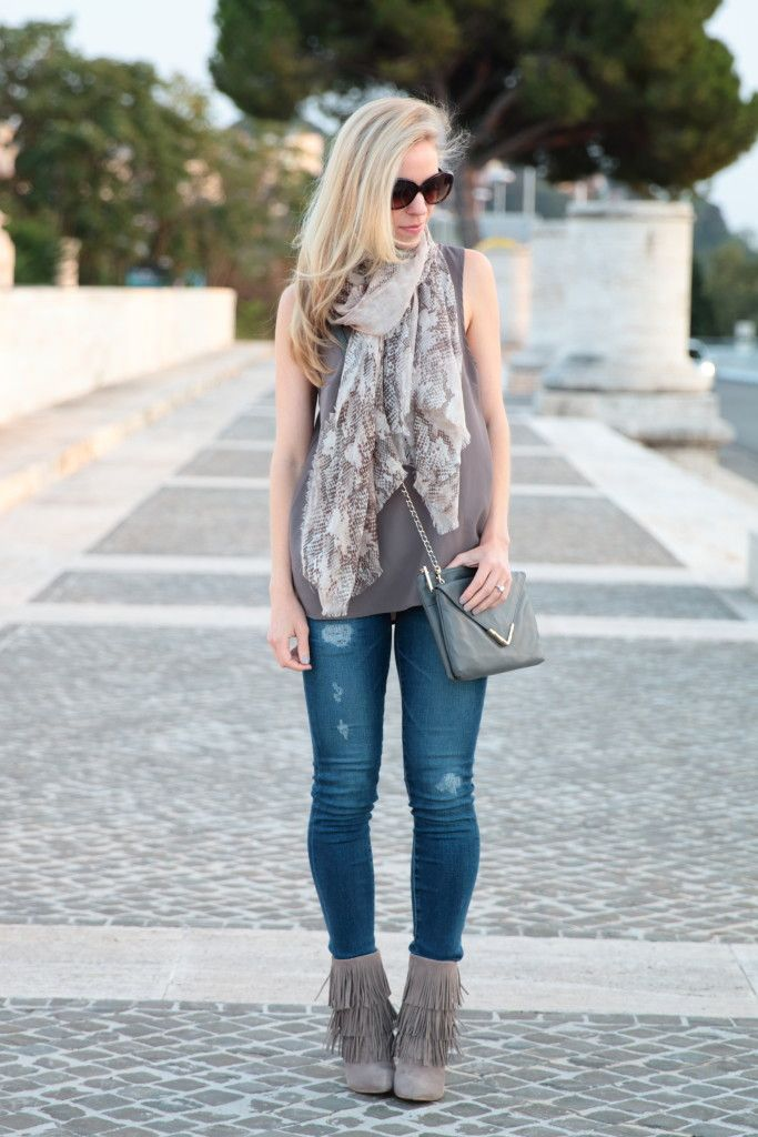Shades of Gray: snakeskin print scarf, gray tank, Adriano Goldschmied distressed denim, gray suede fringe booties, gray outfit for fall, fringe booties outfit