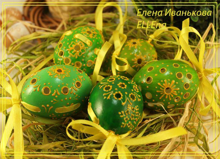 Утиные яйца,пасхальный декор.