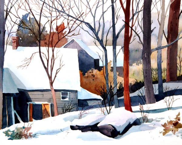 I loved this watercolor. Shades of Winter. Art Sholz