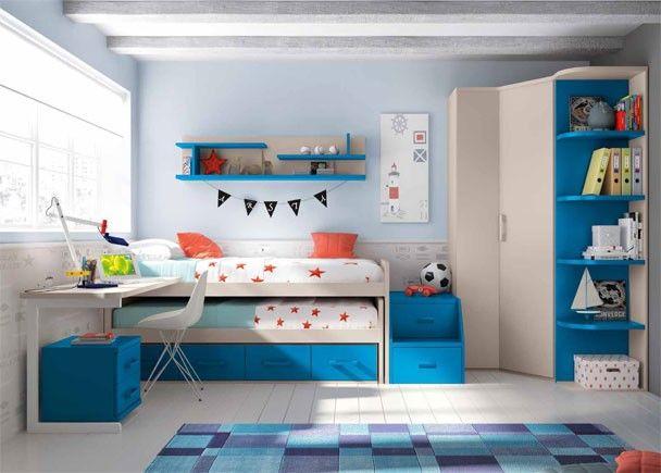 Mejores 164 im genes de dormitorios juveniles acabado azul for Compactos juveniles baratos