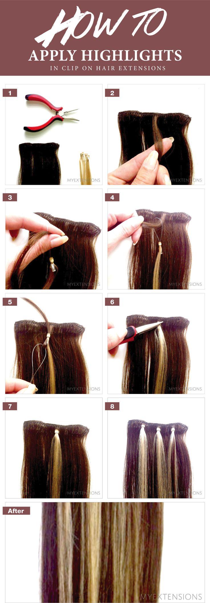Step by step guide - Sådan laver du reflekser/striber i dine Clip on/off extensions eller på dine hår Trenser - se mere på www.myextensions.dk