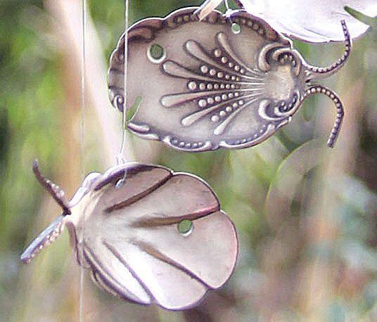 Fancy Tropical Fish Silverware Windchime, Flatware Wind Chime, Decorative Metal Art, Romantic Victorian Garden, Statement Berry Sugar Spoons by NevaStarr on Etsy https://www.etsy.com/listing/199084611/fancy-tropical-fish-silverware-windchime