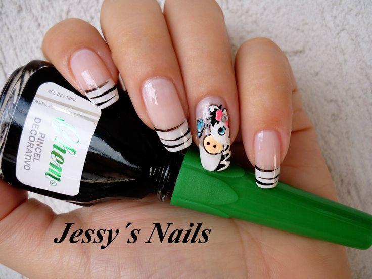 uñas con cebritas #nail #zebra #animal print