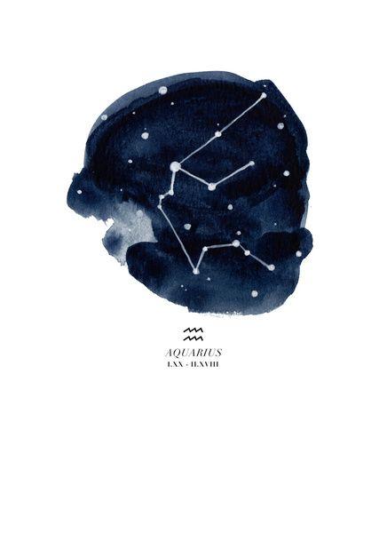 Zodiac Constellation - Aquarius Art Print by THE AESTATE   Society6