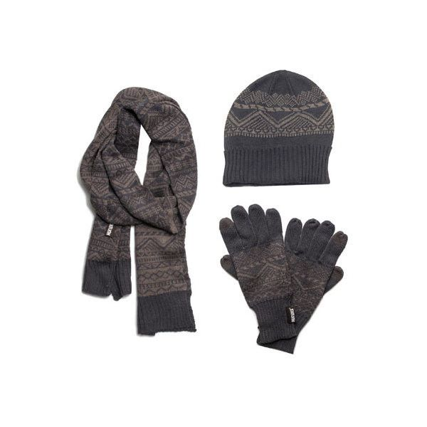 Men's MUK LUKS Hat, Scarf, and Texting Glove Set ($49) ❤ liked on Polyvore featuring men's fashion, men's accessories, men's hats, grey, mens beanie hats, mens caps, mens beanie caps, mens grey beanie and mens skull caps
