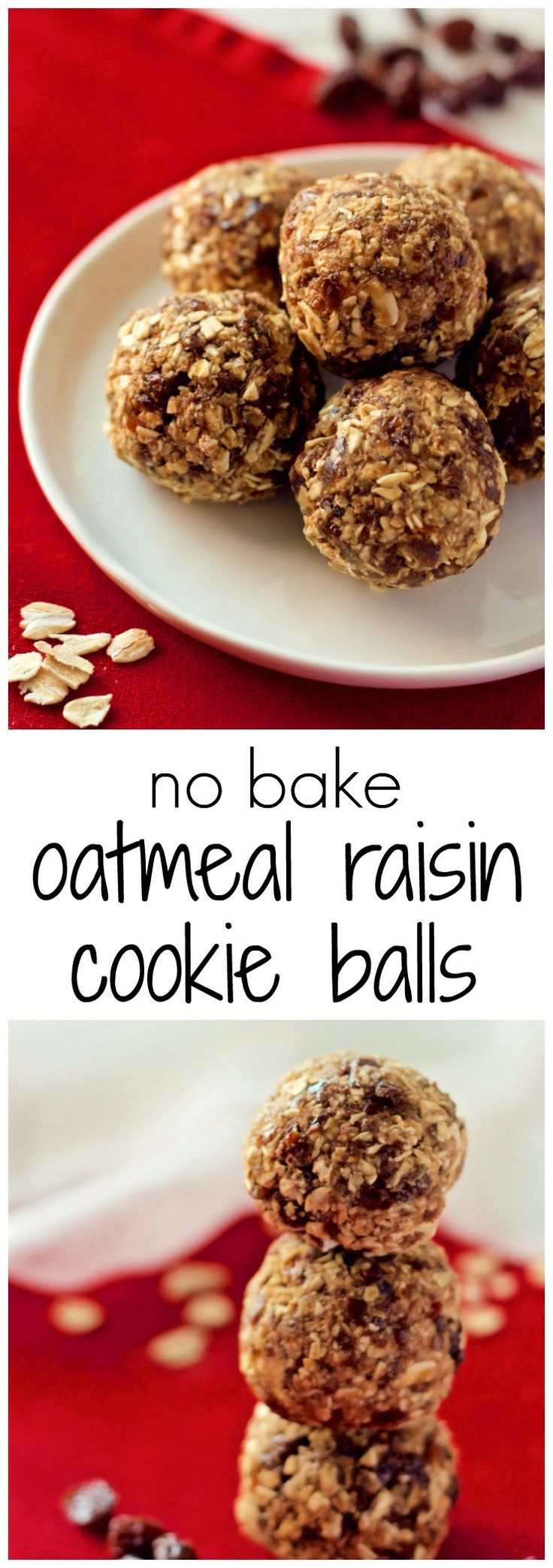 No-bake healthy oatmeal raisin cookie balls - naturally sweetened, gluten free and sure to satisfy your sweet tooth! | FamilyFoodontheTable.com