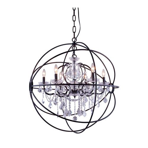 Geneva Dark Bronze Thirty-Two-Inch Pendant with Clear Crystals