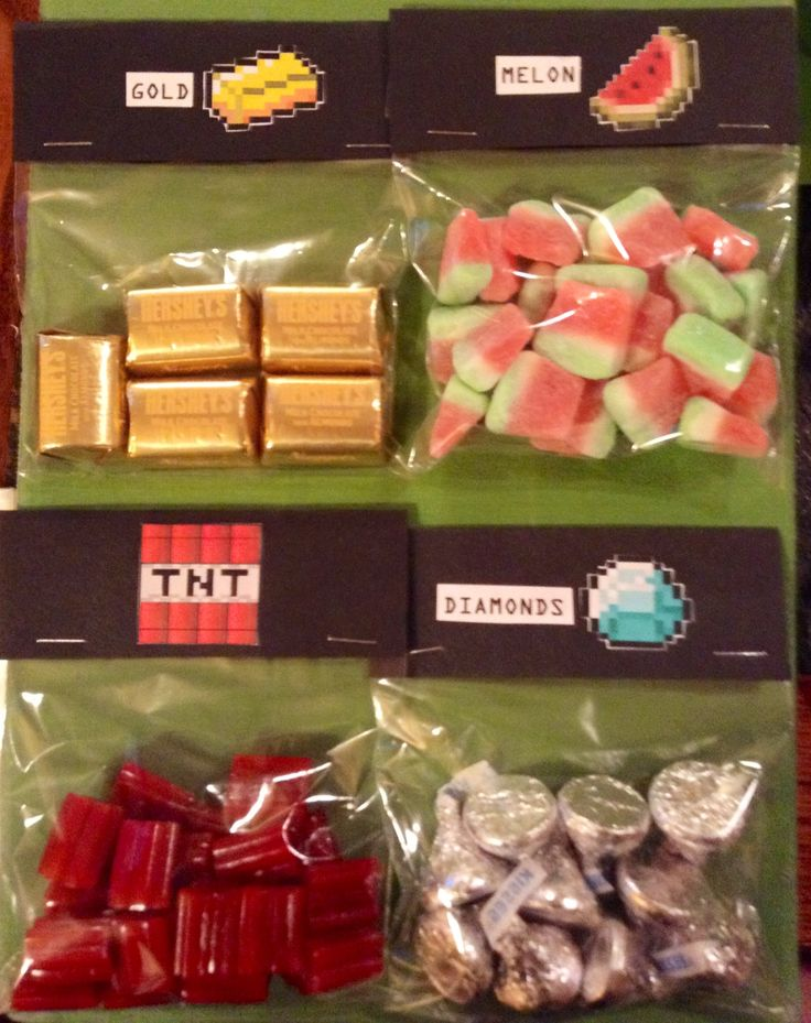 Minecraft party - treat bag goodies