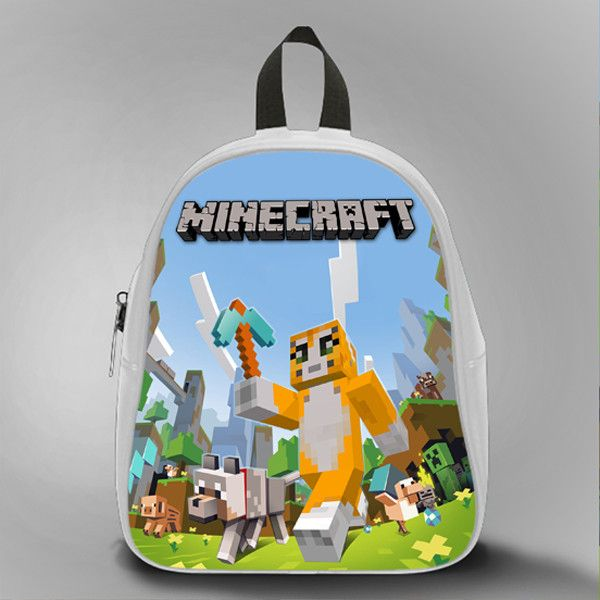 Mr Stampy Cat Minecraft, School Bag Kids, Large Size, Medium Size, Small Size, Red, White, Deep Sky Blue, Black, Light Salmon Color