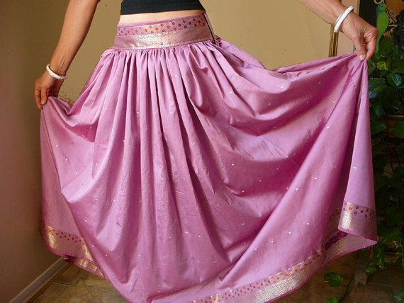 long silk skirt, pink mauve, dusty rose gold woodland goddess upcycled sari, gopi skirt, OOAK full length, gypsy, bohemian, feminine