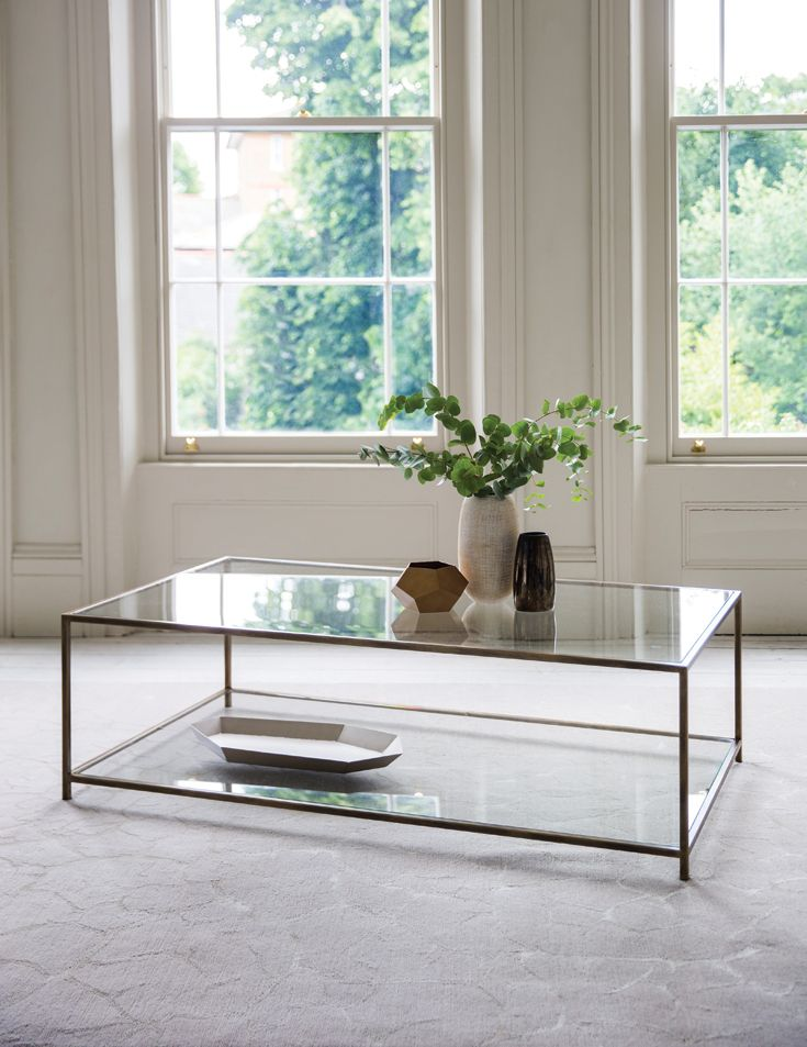 Madison Coffee Table. Finished in Florentine Gold with clear glass.