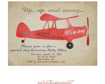 Baby Shower Ideas for Boys vintage airplanes | Vintage Red Airplane Baby Shower invitation Card Printable Digital ...