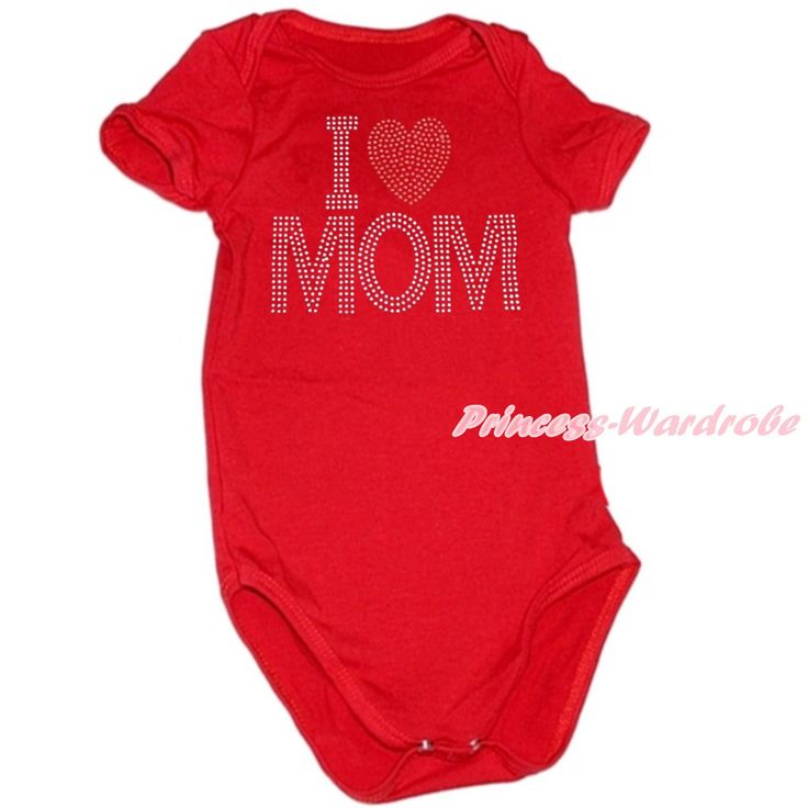 Mommy's Day Red Baby Jumpsuit with Sparkle Crystal Bling Rhinestone I Love Mom Print MATH478