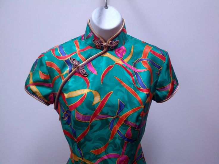 multi color silk jacquard cheongam double piping and 2 tone frogs
