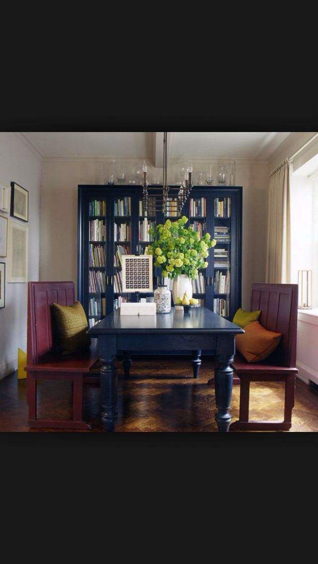 Black dining room large bookcase