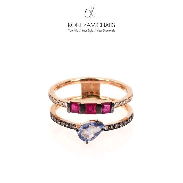 Who doesn't love diamonds on a ring? Well, this ring, in addition to white and brown diamonds, is crafted with rubies and a captivating sapphire stone. #KontzamichalisJewellery  It definitely makes our #nostalgiaCollection shine: http://kontzamichalis.com/nostalgia-2/