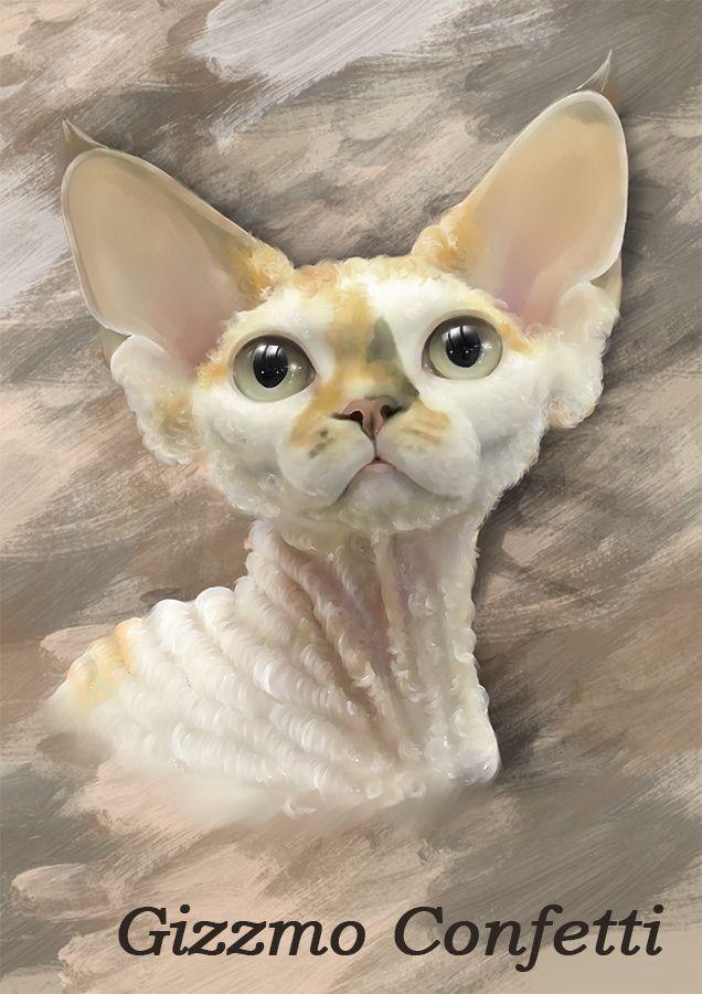 Нарисованный портрет кошки породы Девон Рекс. Могу так же нарисовать вашего питомца. layanna.ru