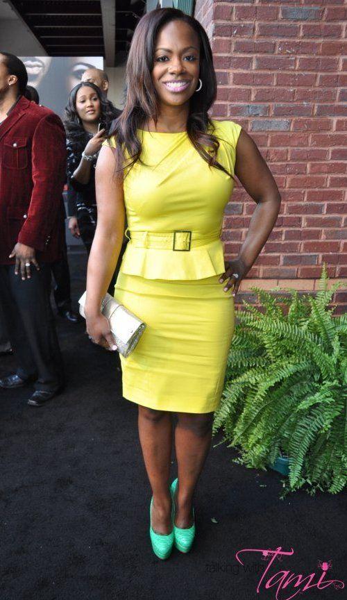 """Kandi Burruss' """"Temptation"""" Movie Premiere Karen Millen Yellow Shift Dress"""