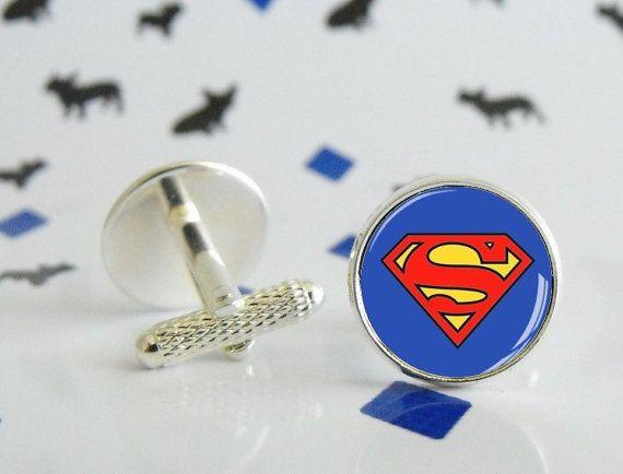 Boutons de manchette Superman faits à la main - Boutons de manchette en métal argenté, bronze ou black gun - Cabochon en verre de 16mm -