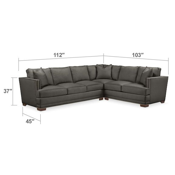 Living Room Furniture   Arden Cumulus Sectional With Right Facing Sofa    Stately L Sterling