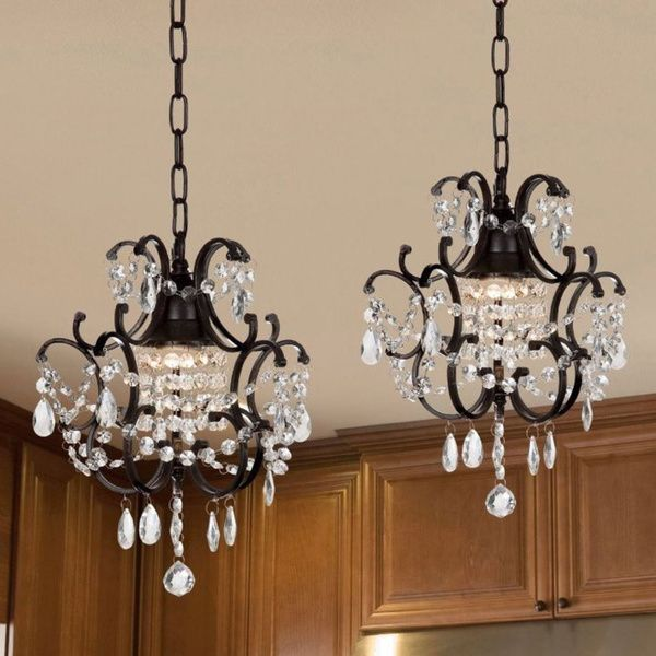 Gallery versailles wrought iron and crystal in set with for Conforama lustre