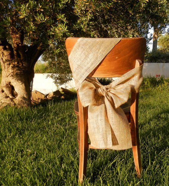 50 Burlap chair sash Rustic wedding by MadeInBurlap on Etsy