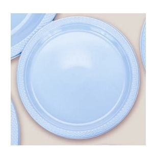 "Plastic Powder Blue Dessert Plates. There are 20 Solid Colour Plastic 7"" Dessert plates per package. They come in 22 colours and are a great party accessory where you want to match a colour and you also want a plate that is stronger than paper."