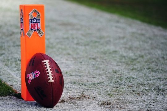 Jaguars vs. Chiefs  -  19-14, Chiefs  -  November 6, 2016  -   Nov 6, 2016; Kansas City, MO, USA; A football rests against a end zone pylon before a Military Appreciation game between the Jacksonville Jaguars and the Kansas City Chiefs at Arrowhead Stadium. Mandatory Credit: Jeff Curry-USA TODAY Sports