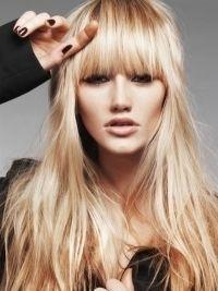 Glam Blunt Bangs Long Haircuts 2012