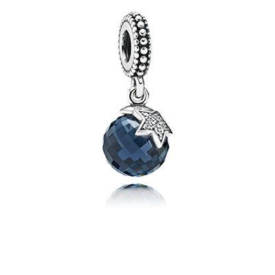 Charm Pendentif Lune et Etoile Bleu Nuit