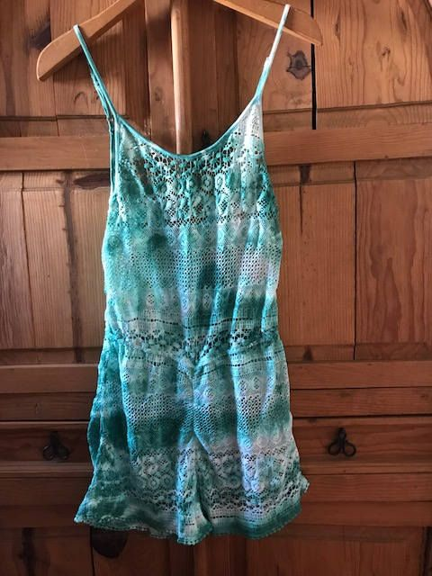 Excited to share the latest addition to my #etsy shop: Emerald Tie Dyed Crochet Romper/ Hippie Clothes /Boho Overall Shorts/ Playsuit Jumper Shorts Summer Beach Bikini Coverup Unique Womens http://etsy.me/2Fe0EYk #clothing #women #green #birthday #white #l #romper #sho