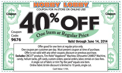 Latest Craft Store Coupons $$ Hobby Lobby and Michaels – Expires TODAY (6/14)!