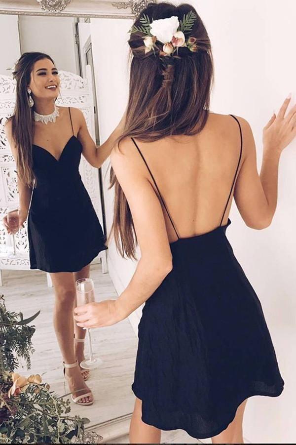 Simple Black Deep V Neck Short Prom Dress,Spaghetti Backless Cheap Homecoming Dress,Party Dress SH191