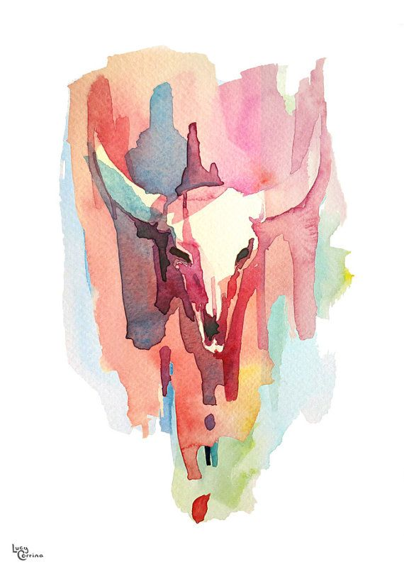 A3 Red Bull Watercolour print by lucycorrina on Etsy, $30.00