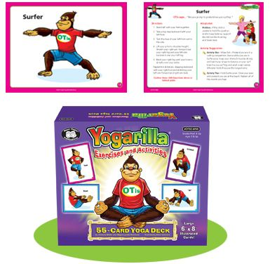 yogarilla  exercises and activities 55 card yoga deck in