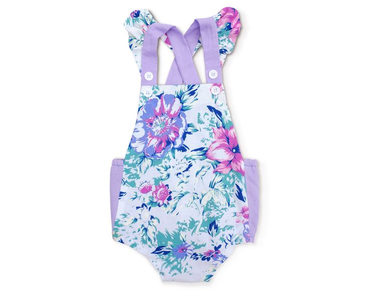 Baby Girl Purple Floral Romper Girls Purple Playsuit