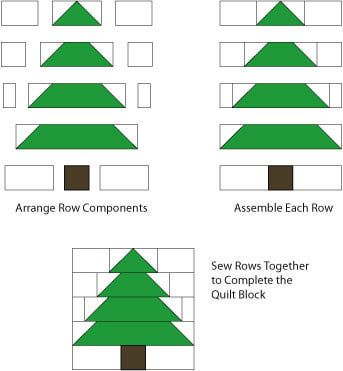 Printable Tree Quilt Block Pattern | Finish Assembling the Christmas Tree Quilt Block, Page 3