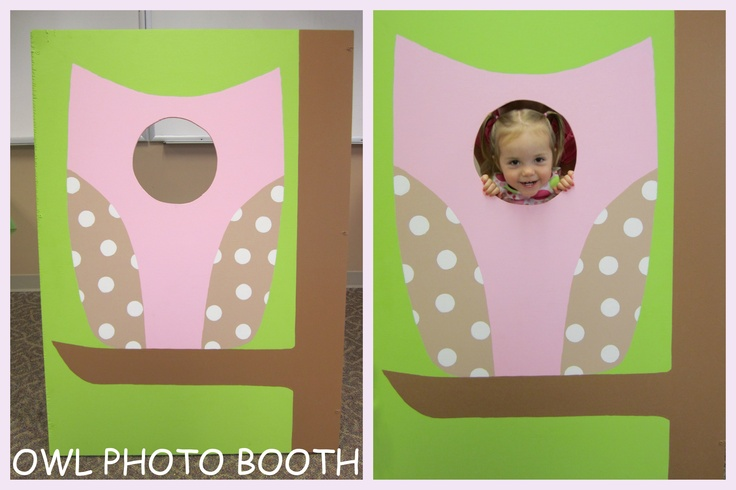 Owl Photo Booth - this was so much fun:), I saw one on Pinterest and had to make one for Kyra's owl party!