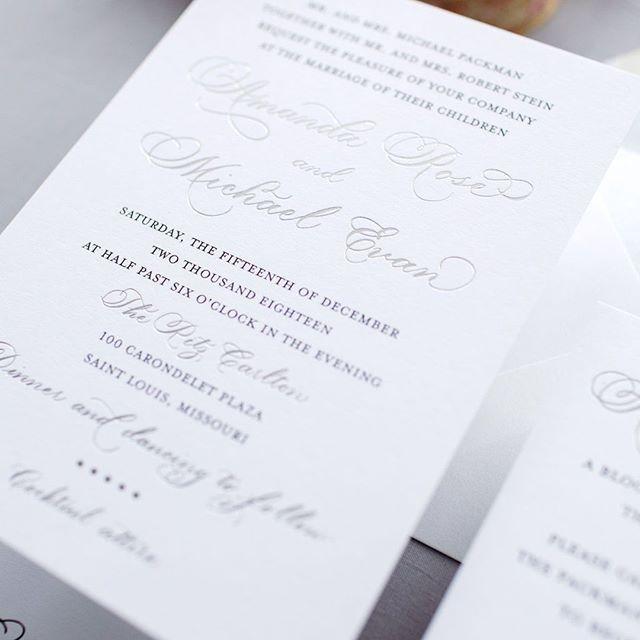 Silver And Black Wedding Invitation For An Elegant Ritz Carlton St Louis Wedd Black Wedding Invitations First Wedding Anniversary Gift Letterpress Invitations