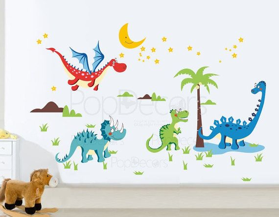 Repositionable Boys Printed Wall Decals Kids Wall Stickers Child Playroom Wall Decors Kids Stickers- Dinosaurs World Wall Stickers