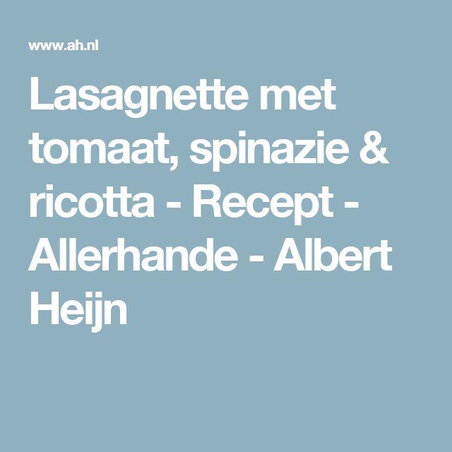Lasagnette met tomaat, spinazie & ricotta - Recept - Allerhande - Albert Heijn