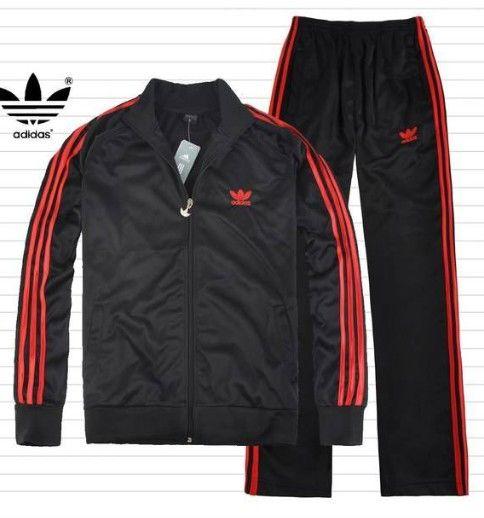 adidas sweat suits men | adidas Mens Originals Track Suit Black Red [adidas Mens Track Suit 8 ...