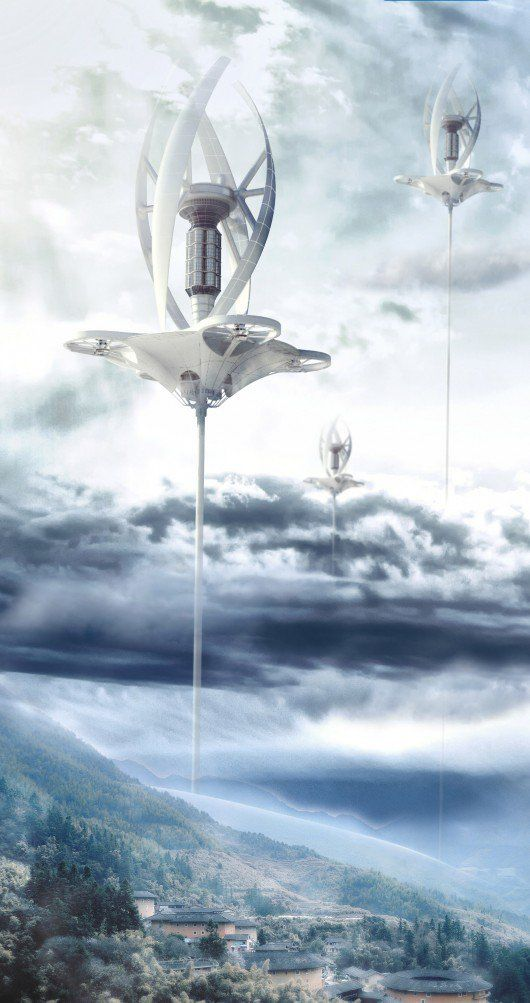 Capture Wind: A Wind Farm in the Tropopause / Jiaqi Sun, Chang Liu, Mingxuan Qin (China) [Futuristic Architecture: http://futuristicnews.com/category/future-architecture/]