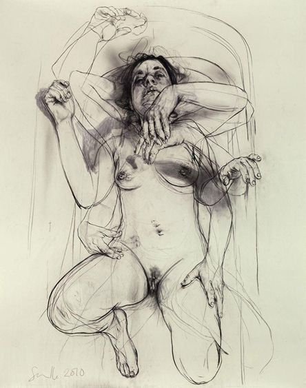 Jenny Saville - movement study - get students in the habit of repositioning limbs and being decisive