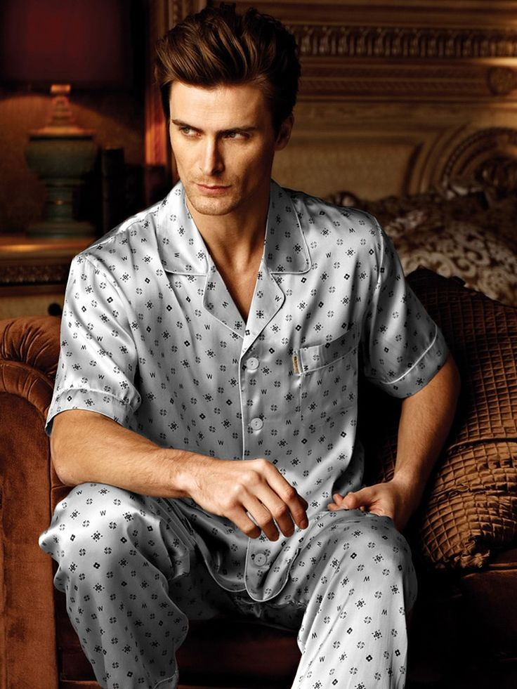 Printed Silk Pajamas for Men MS28