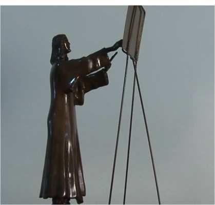 EL MAESTRO PINTOR TITULO:        EL MAESTRO PINTOR MATERIAL:   bronce a la cera perdida AUTOR:        pedro pablo murillo cano MEDIDAS:    0. 48*0.28*0.17